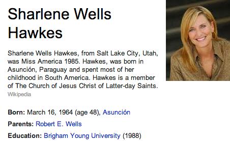 Sharlene Wells Hawkes Mormon