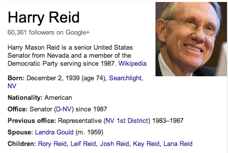Harry Reid Mormon Summary